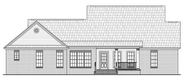 Country, Farmhouse, Southern, Traditional House Plan 59191 with 3 Beds , 2 Baths , 2 Car Garage Rear Elevation