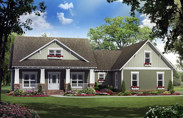 Bungalow, Craftsman House Plan 59192 with 3 Beds, 3 Baths, 2 Car Garage Elevation