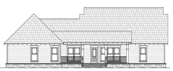 Bungalow, Craftsman House Plan 59192 with 3 Beds, 3 Baths, 2 Car Garage Rear Elevation