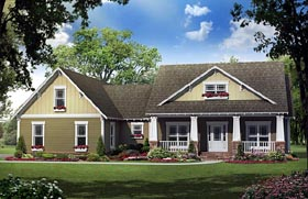 Bungalow , Craftsman House Plan 59193 with 4 Beds, 3 Baths, 2 Car Garage Elevation