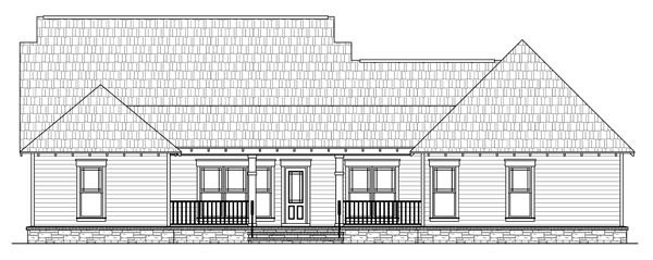 Bungalow , Craftsman House Plan 59193 with 4 Beds, 3 Baths, 2 Car Garage Rear Elevation