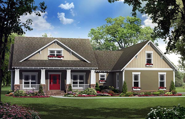 Cottage Country Craftsman Southern House Plan 59194 Elevation
