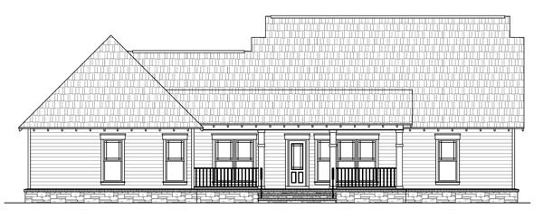 Cottage Country Craftsman Southern House Plan 59194 Rear Elevation