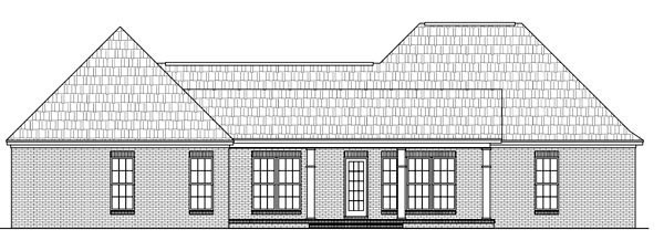 Country, European, Southern, Traditional House Plan 59195 with 3 Beds, 3 Baths, 2 Car Garage Rear Elevation