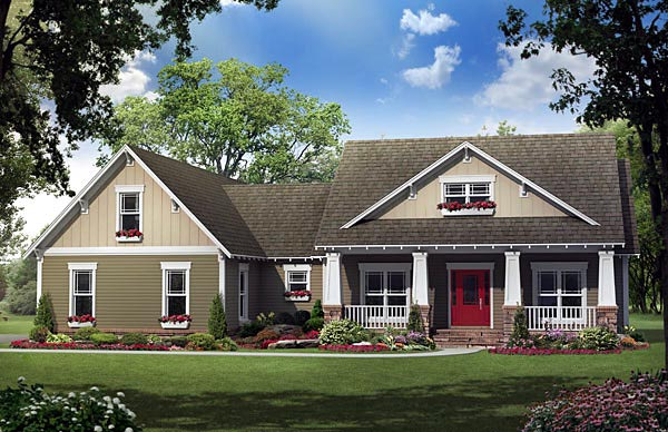 Cottage , Country , Craftsman , Southern House Plan 59196 with 4 Beds, 3 Baths, 2 Car Garage Elevation