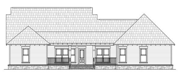 Cottage , Country , Craftsman , Southern House Plan 59196 with 4 Beds, 3 Baths, 2 Car Garage Rear Elevation