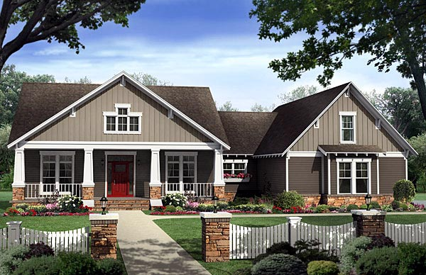 Bungalow Country Craftsman House Plan 59198 Elevation