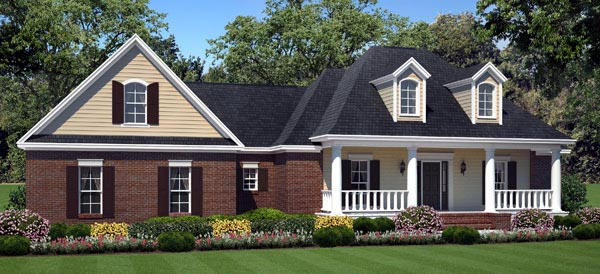 Country, European, Traditional House Plan 59199 with 3 Beds, 3 Baths, 2 Car Garage Elevation