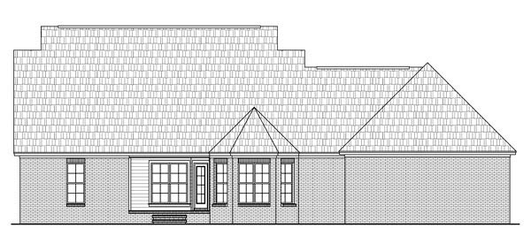 Country , Southern , Traditional House Plan 59200 with 3 Beds, 3 Baths, 2 Car Garage Rear Elevation