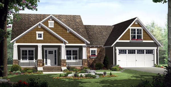 Bungalow Craftsman Traditional House Plan 59201 Elevation