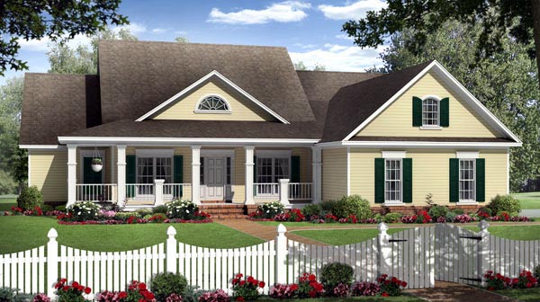 Country Farmhouse Traditional Elevation of Plan 59202