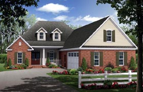 Country , European , French Country , Traditional House Plan 59204 with 4 Beds, 2 Baths, 2 Car Garage Elevation