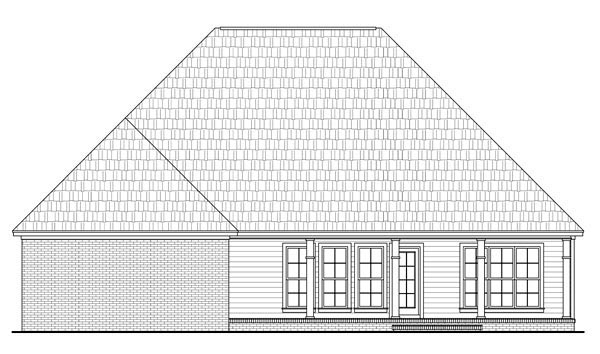 Country , European , French Country , Traditional House Plan 59204 with 4 Beds, 2 Baths, 2 Car Garage Rear Elevation