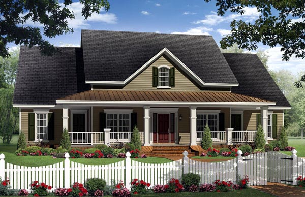 Country, Southern House Plan 59205 with 4 Beds , 4 Baths , 2 Car Garage Elevation
