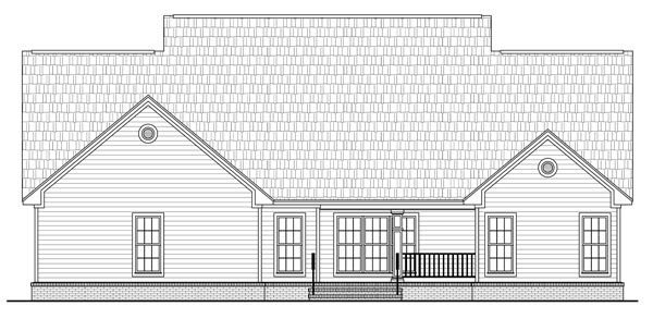 Country , Southern House Plan 59205 with 4 Beds, 4 Baths, 2 Car Garage Rear Elevation