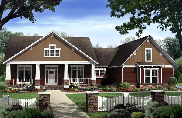 Bungalow, Craftsman House Plan 59206 with 4 Beds , 3 Baths , 2 Car Garage Elevation