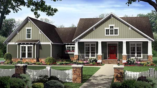 Bungalow Craftsman House Plan 59207 Elevation