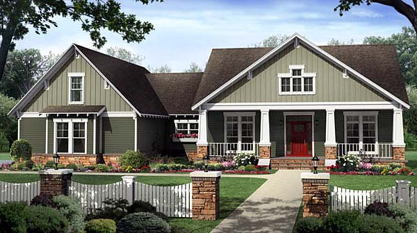 Bungalow , Craftsman House Plan 59207 with 4 Beds, 3 Baths, 2 Car Garage Elevation