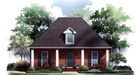 Traditional , European , Colonial House Plan 59210 with 3 Beds, 2 Baths, 2 Car Garage Elevation