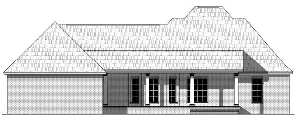 Traditional , Southern , Farmhouse , Country House Plan 59211 with 3 Beds, 2 Baths, 2 Car Garage Rear Elevation