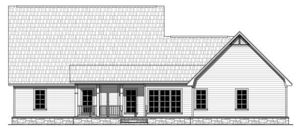 Craftsman, European, French Country, Southern, Traditional House Plan 59213 with 4 Beds, 3 Baths, 2 Car Garage Rear Elevation