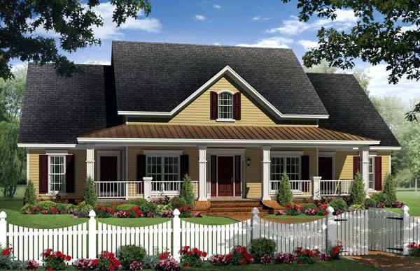Country, Farmhouse, Traditional House Plan 59214 with 4 Beds, 3 Baths, 2 Car Garage Elevation