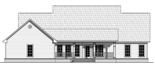 Country, Farmhouse, Traditional House Plan 59214 with 4 Beds, 3 Baths, 2 Car Garage Rear Elevation
