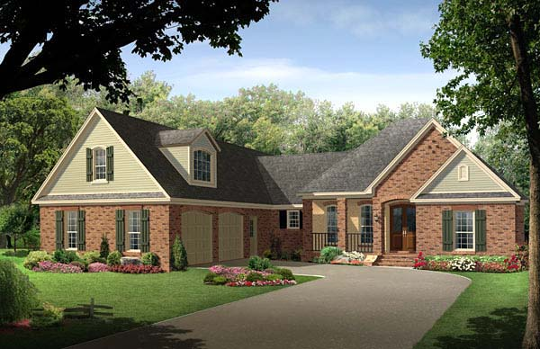 Country, European, Traditional, House Plan 59215 with 4 Beds, 3 Baths, 2 Car Garage Elevation