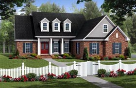 Country , Farmhouse , Southern , Traditional House Plan 59217 with 3 Beds, 2 Baths, 2 Car Garage Elevation