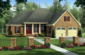 House Plan 59220 | Country, European, Traditional Style House Plan with 2203 Sq Ft, 4 Bed, 2 Bath, 2 Car Garage Elevation