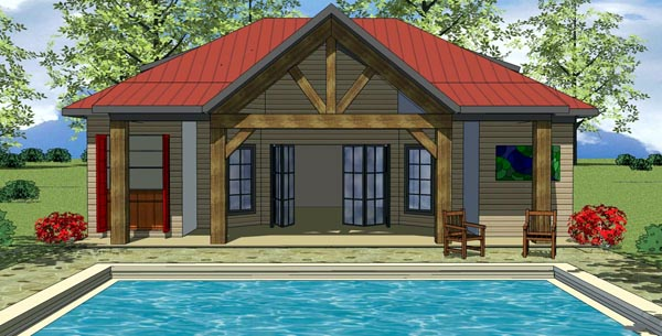 House Plan 59318 | Cottage Craftsman Style Plan with 704 Sq Ft, 1 Bedrooms, 2 Bathrooms Elevation