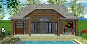 House Plan 59321 | Cottage Craftsman Style Plan with 704 Sq Ft, 1 Bedrooms, 2 Bathrooms Elevation
