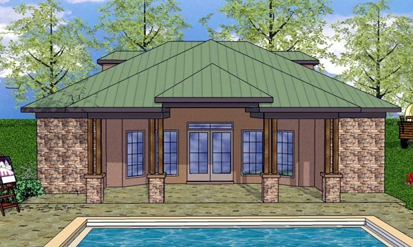 House Plan 59342 | Cottage Craftsman Style Plan with 932 Sq Ft, 1 Bedrooms, 2 Bathrooms Elevation