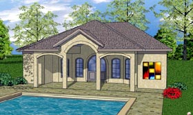 House Plan 59343 | Cottage Craftsman Style Plan with 932 Sq Ft, 1 Bedrooms, 2 Bathrooms Elevation