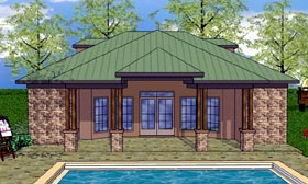 House Plan 59344 | Cottage, Craftsman Style House Plan with 723 Sq Ft, 1 Bed, 2 Bath Elevation