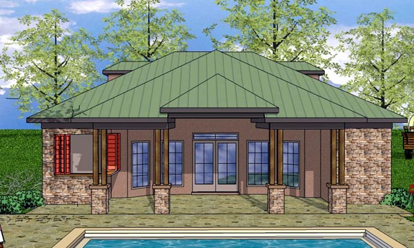 House Plan 59346 | Cottage Craftsman Style Plan with 704 Sq Ft, 1 Bedrooms, 2 Bathrooms Elevation