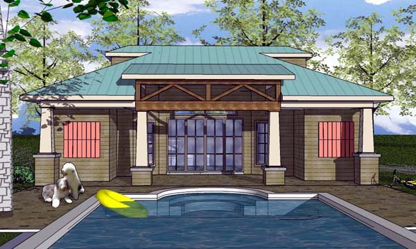 Cottage , Craftsman House Plan 59353 with 1 Beds, 2 Baths Elevation