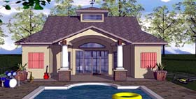 House Plan 59354 | Cottage Craftsman Style Plan with 723 Sq Ft, 1 Bedrooms, 2 Bathrooms Elevation