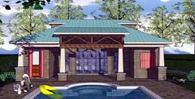 House Plan 59357 | Cottage Craftsman Style Plan with 704 Sq Ft, 1 Bedrooms, 2 Bathrooms Elevation
