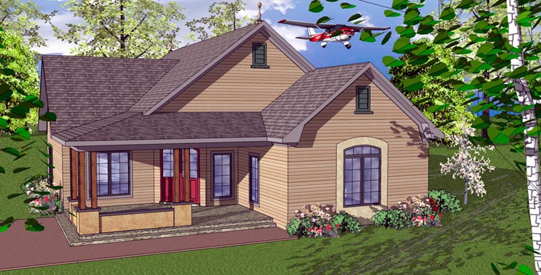 House Plan 59358 | Cottage Florida Southern Style Plan with 1411 Sq Ft, 2 Bedrooms, 2 Bathrooms Elevation