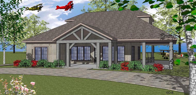 Cottage, Southern House Plan 59391 with 2 Beds, 2 Baths Elevation