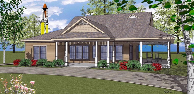 Coastal, Southern House Plan 59392 with 2 Beds, 2 Baths Elevation