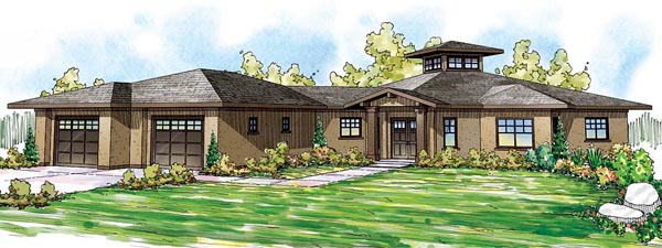 Florida, Mediterranean, Southern House Plan 59400 with 3 Beds , 4 Baths , 2 Car Garage Elevation