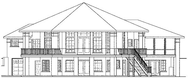 European , Traditional House Plan 59401 with 5 Beds, 4 Baths, 3 Car Garage Rear Elevation