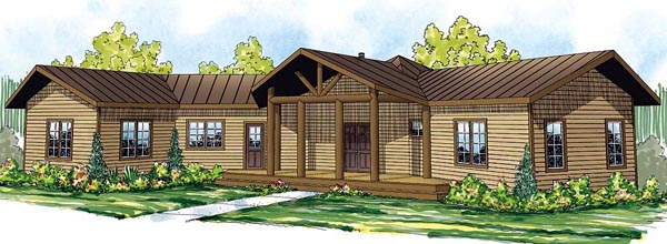 Cabin Craftsman Ranch House Plan 59402 Elevation