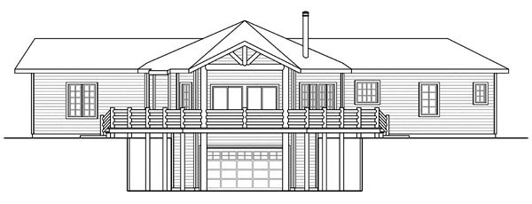 Cabin Craftsman Ranch House Plan 59402 Rear Elevation
