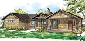 Contemporary Craftsman Ranch House Plan 59403 Elevation