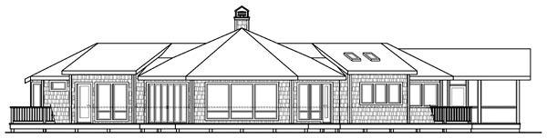 Contemporary Craftsman Ranch House Plan 59403 Rear Elevation