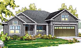 Cape Cod , Cottage , Craftsman , Ranch House Plan 59404 with 3 Beds, 3 Baths, 2 Car Garage Elevation