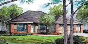 European , Ranch , Traditional House Plan 59407 with 3 Beds, 2 Baths, 3 Car Garage Elevation